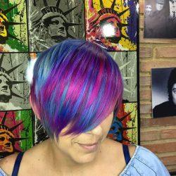 galaxy hair cabello galaxia short hair violet fantasy pigmento fantasia